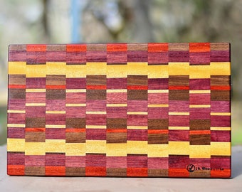 Walnut, padauk, yellowheart , and padauk