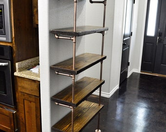 Industrial pipe shelf / shelving unit.