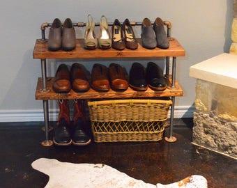 Industrial pipe shoe rack / shelf