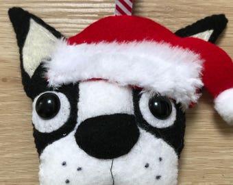 Boston terrier / french bulldog felt christmas tree decoration