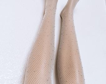 Fishnet Bedazzled Glitter Tights Rave Lingerie Pantyhose Rhinestone Sparkle Embellished Crystal One Size Bling Stocking