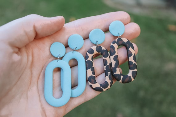 Geometric Clay Earrings Clay Aztec Earrings Dangle Western Earrings Minimal Western Earrings Western Earrings Blue Aztec Earrings