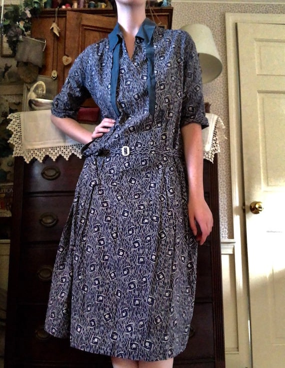 1920s / 1930s Blue Calico Day Dress