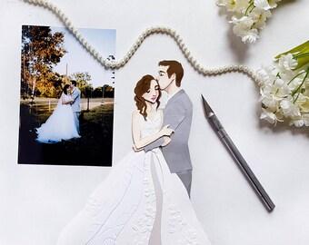 Custom Wedding Cut Paper Portrait / Wedding Gift / Anniversary Gift