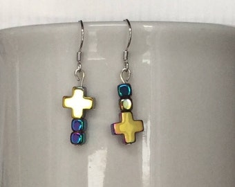 Handcrafted cross/ inverted cross hematite and sterling silver hook earrings