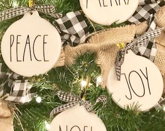 Rae Dunn Inspired Ornaments, Farmhouse Ornaments, Christmas Rae Dunn