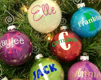 Personalized name Christmas ornament, personalized glitter ornament, custom ornament, glitter ornament