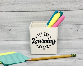 Teacher Pencil Cup,  Teacher Appreciation Gift, Personalized Teacher Gift, Cute office supplies