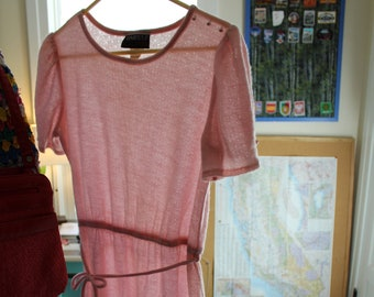 fb7fb151d74 Times Up Le Temps vtg 70s 80s pale pink knit dress