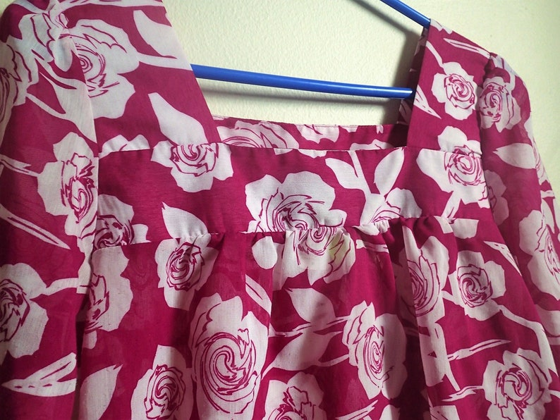 Lily White brand Magenta blouse with roses