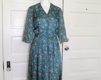 1940s teal floral print day dress