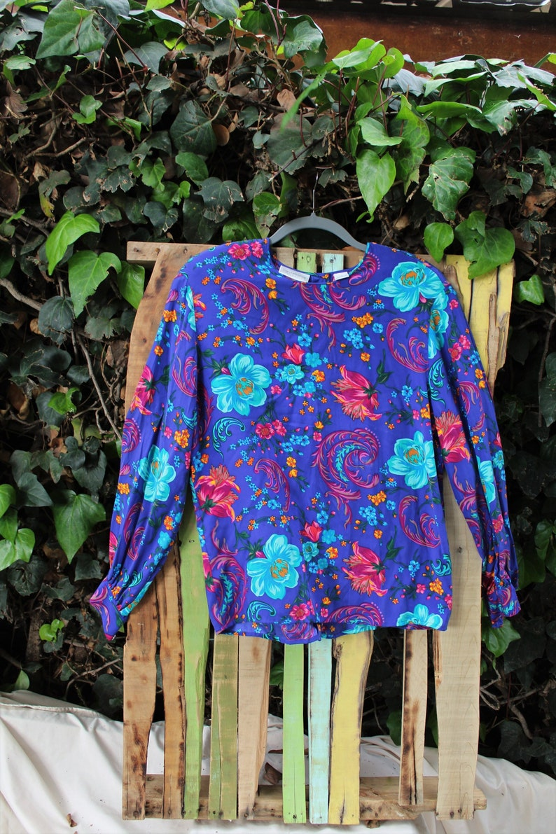 6c47b93abe262a Liz Claiborne Collection vintage silk indigo floral blouse | Etsy