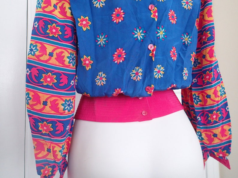 Vintage 80s Nieman-Marcus blouse bright pink and blue