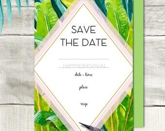 Tropical Palm Watercolor Fill in Invitations