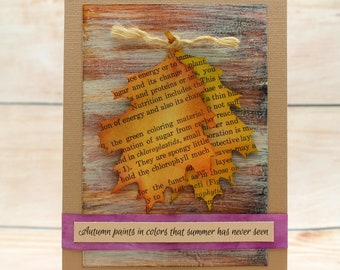 Fall leaves card | Etsy