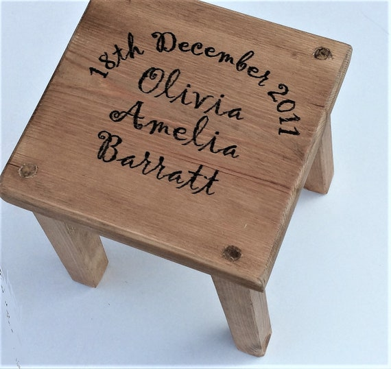 Pleasing Personalised Rustic Wooden Childrens Stool Toddler Baby T Machost Co Dining Chair Design Ideas Machostcouk