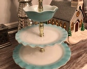 Rare Vintage 1950s Turquoise Hazel Atlas Ruffled Crinoline Tiered Tidbit Tray Vintage tiered dessert tray