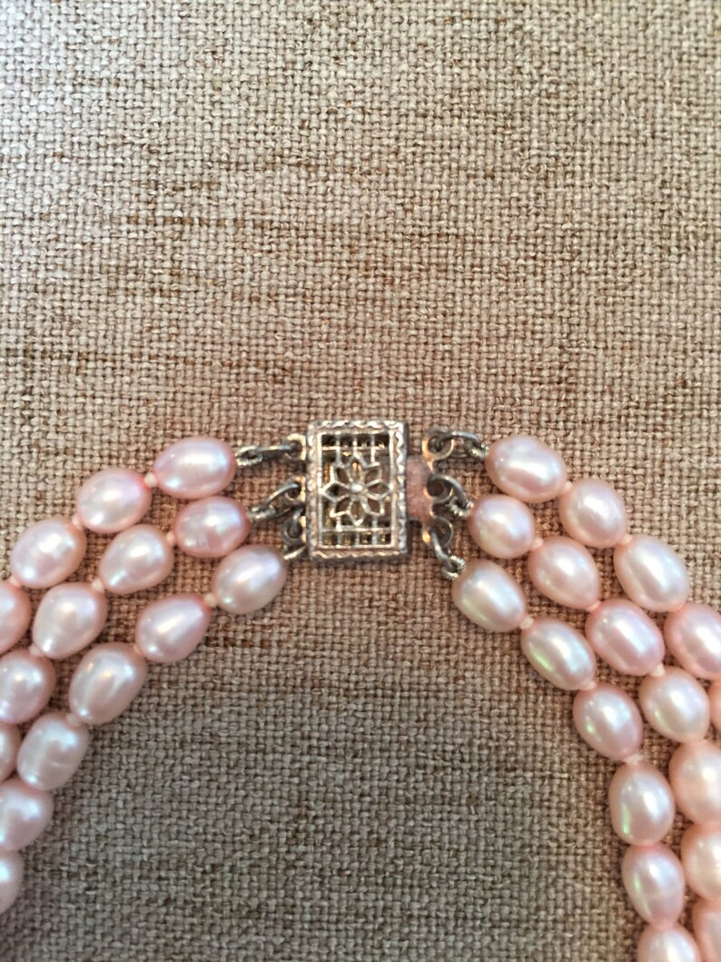 Gift sterling silver clasp light pink freshwater pearl Pink multistrand necklace On Sale Pearl necklace