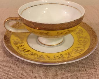 On Sale Hand Painted Tea Set, Japan Arnart 5th Ave., Yellow Tea Cup, Gold Trim, Tea Cup and Saucer