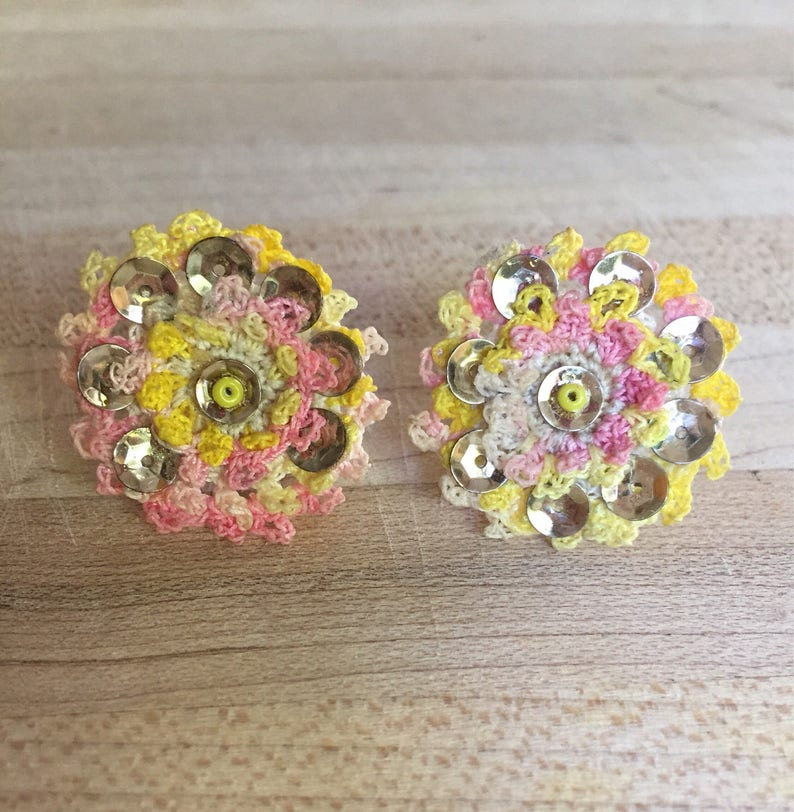 Screw Back Crochet Earrings Vintage Pink And Yellow Crocheted