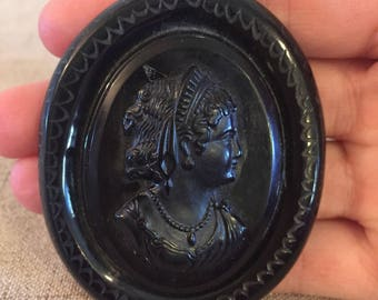 Black Bakelite Cameo Necklace, Mourning Necklace, Large Pendant Necklace, Oval, Deeply Carved