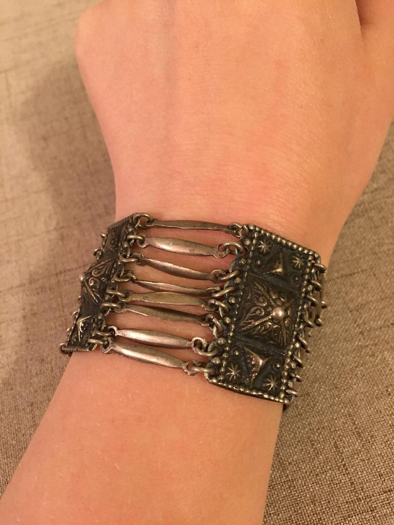 Wide Stamped Silver Eye Catching Mexico Bracelet Pyramid Sterling Boho Bracelet Chunky Bar