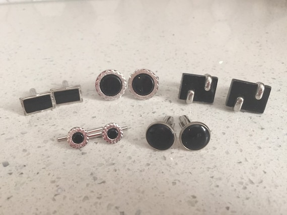 onyx /& mother of pearl Black and White Stripe Wedding Cuff links and Tuxedo Studs cufflinks studs  vintage groom,