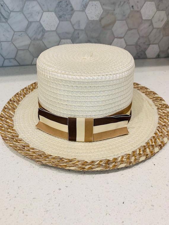 Unisex Uk Made Cream Ribbon Boater Hat
