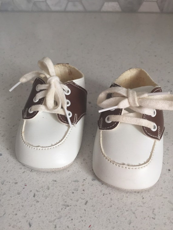 Vintage Baby Shoes Saddle Shoes Brown