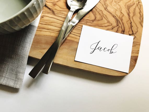 Flat Place Cards Escort Cards Wedding Calligraphy Etsy