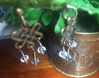 Celtic and baby blue drop earrings