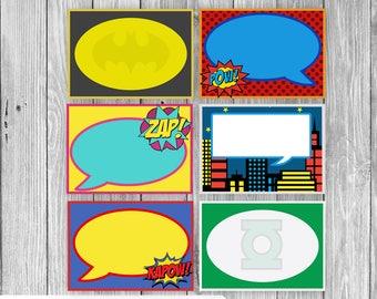 Super Hero Themed Food Tags/Labels (Digital)