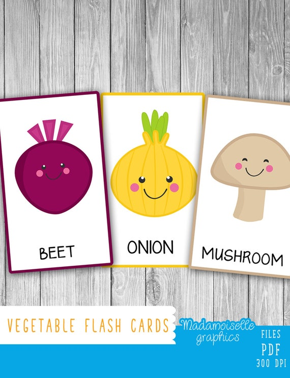 Vegetable Flash Cards (2 Languages)