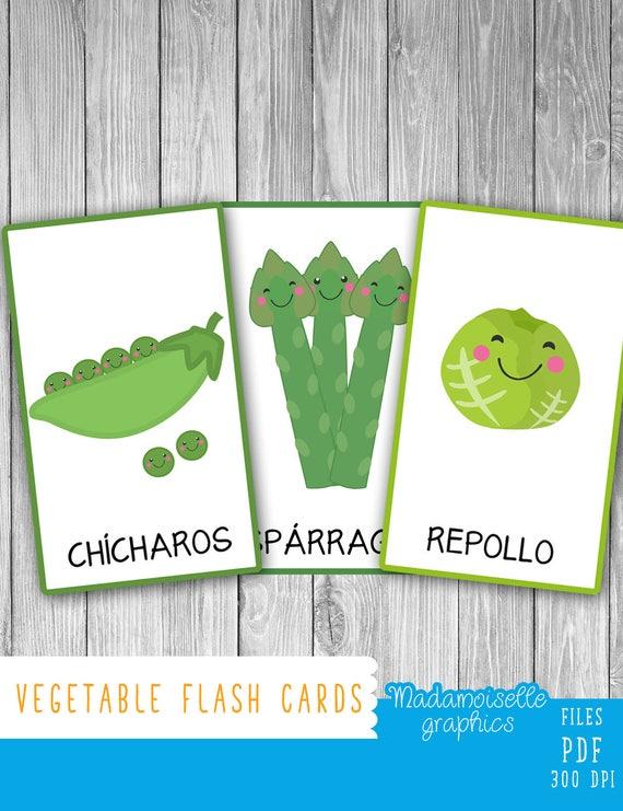 Vegetable Flash Cards (2 Languages)