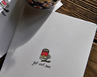 Get Well Card, Get Well Soon Soup Card, Greeting Cards, Handmade Cards, Every Card is Hand Drawn