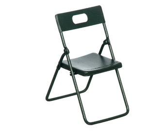Dollhouse Miniature Black Metal Folding Chair. 1:12 Scale