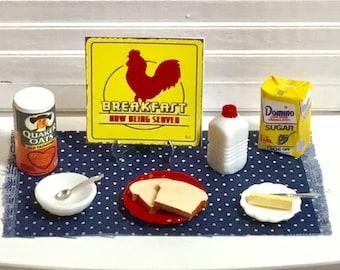 Miniature Pancake Breakfast w//Scrambled Eggs and Sausage//Bacon DOLLHOUSE 1:12