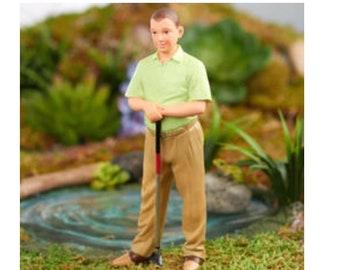 Dollhouse Miniature Ted the Golfer Resin Doll