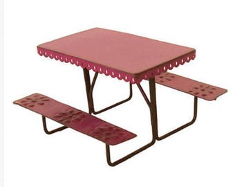 Dollhouse Miniature Metal Picnic Table