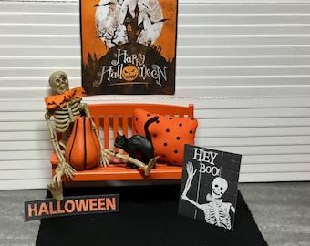 Dollhouse Miniature Halloween Decor, Skeleton, Orange Bench, Black Cat, Halloween Sign, Orange/Black Pillow.  1:12 Scale