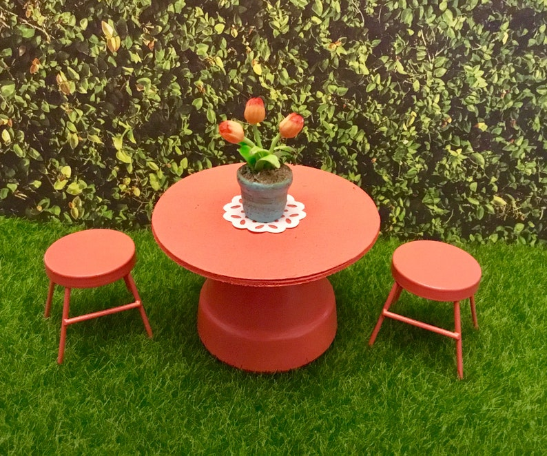 Incredible Dollhouse Miniature Fairy Garden Coral Table Stools Pot Of Tulips 1 12 Scale Machost Co Dining Chair Design Ideas Machostcouk