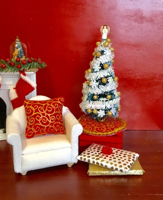 Dollhouse Miniature Christmas Tree Balls Handcrafted 1//12 Red Glitter 12