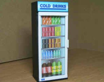 Dollhouse Miniature Cold Drinks Refrigerator 1:12 Scale