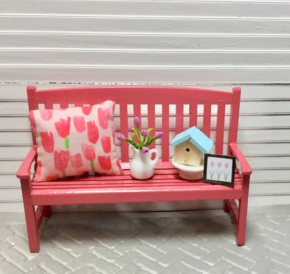 Pleasing Dollhouse Miniature Coral Pink Wooden Bench Tulip Pillow Pitcher Of Tulips Wooden Birdhouse Tulip Picture 1 12 Scale Uwap Interior Chair Design Uwaporg