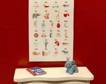 Dollhouse Miniature Alphabet Poster 1:12 Scale