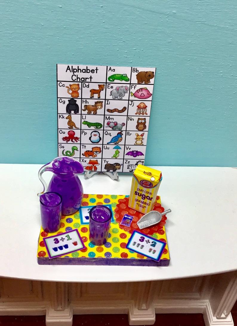 Dollhouse Miniature Alphabet Wall Chart for 1:12 Scale Doll House School Room