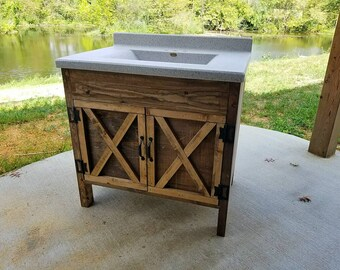 Rustic Barn Door Bathroom Vanity   Low Shipping   Farmhouse Vanity