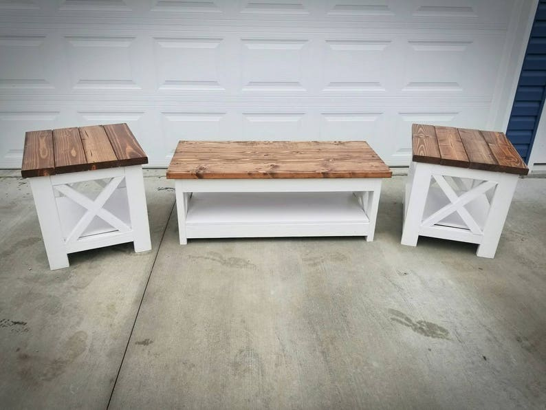 Exceptionnel Farm House Rustic X Style Coffee Table And End Table   Low Shipping