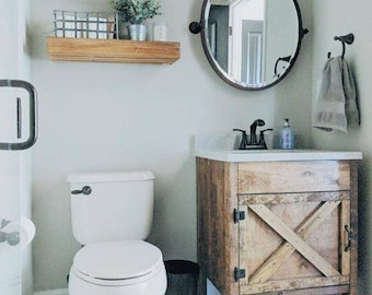 Rustic Barn Door Bathroom Vanity - Free Shipping - Farmhouse Vanity