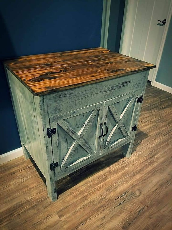 Rustic Barn Door Bathroom Vanity   Solid Wood Top Included   Free Shipping by Etsy